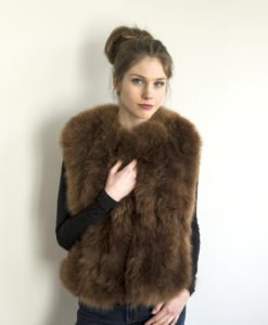 fur gilet brown