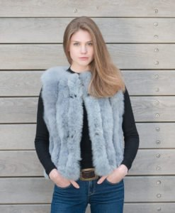 fur gilet dove grey