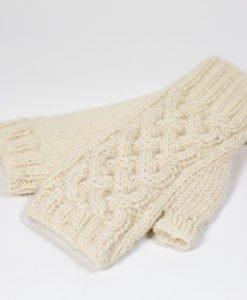 fingerless mittens natural