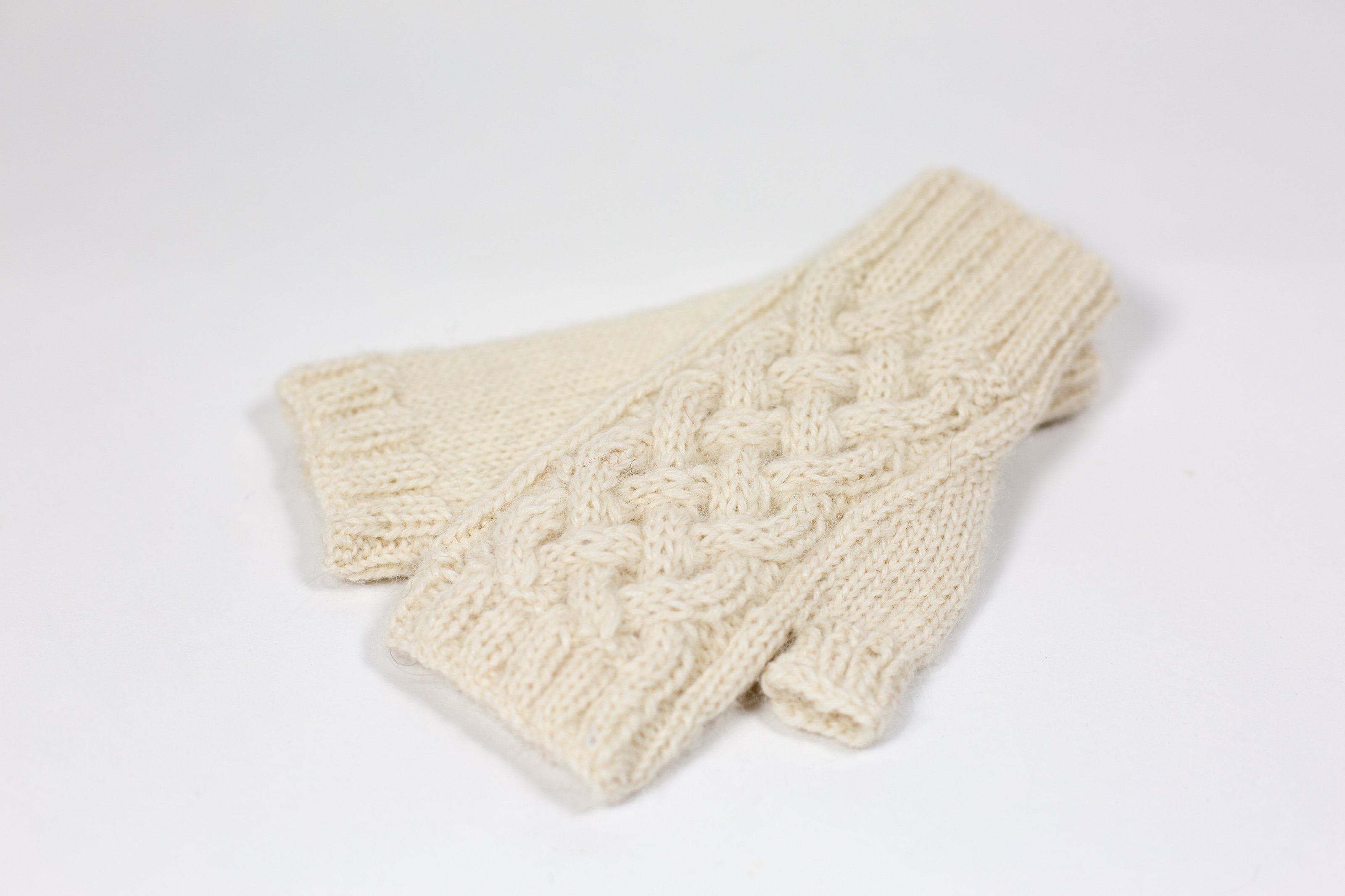 fingerless mittens natural