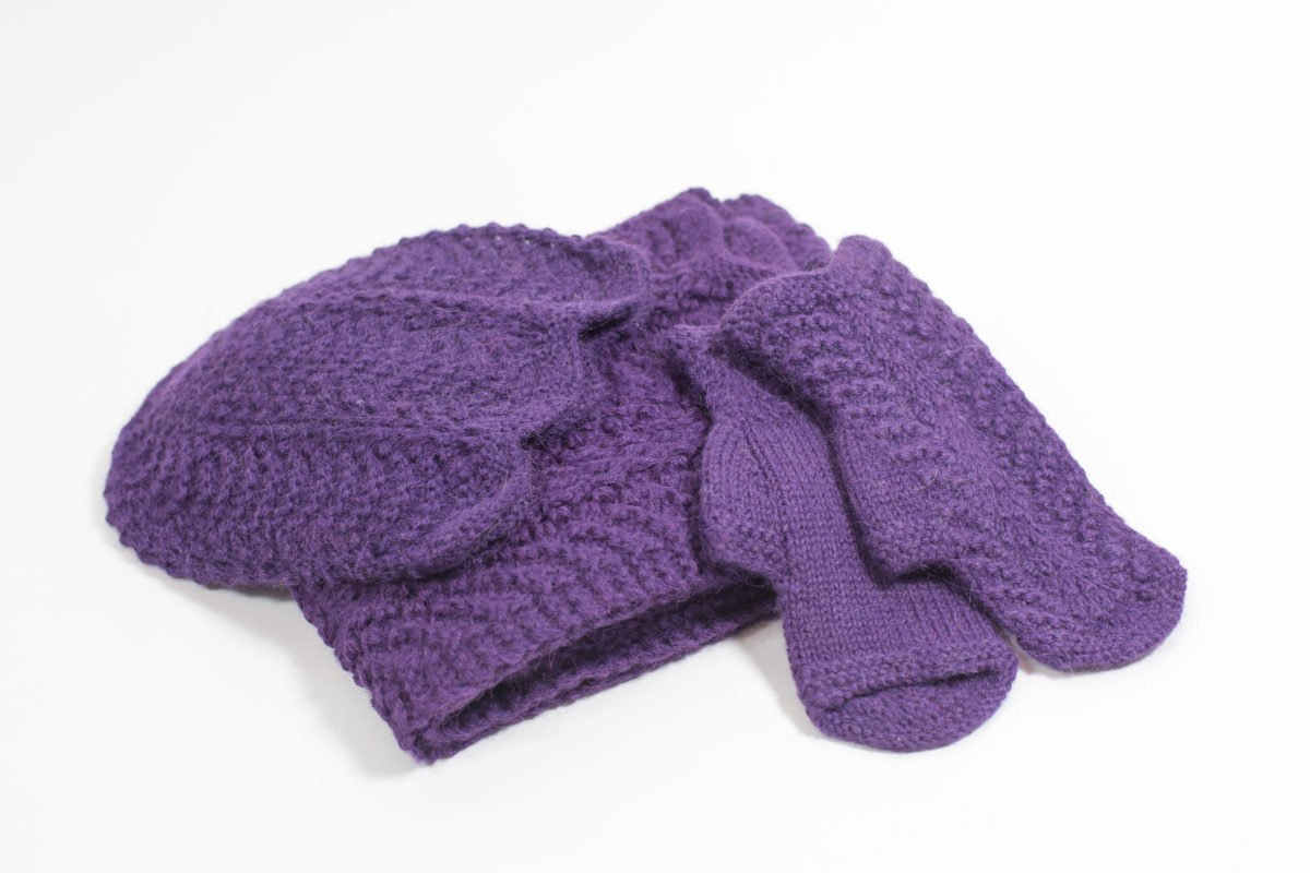 Knitted Sets Including Hat Scarf Fingerless Mittens And