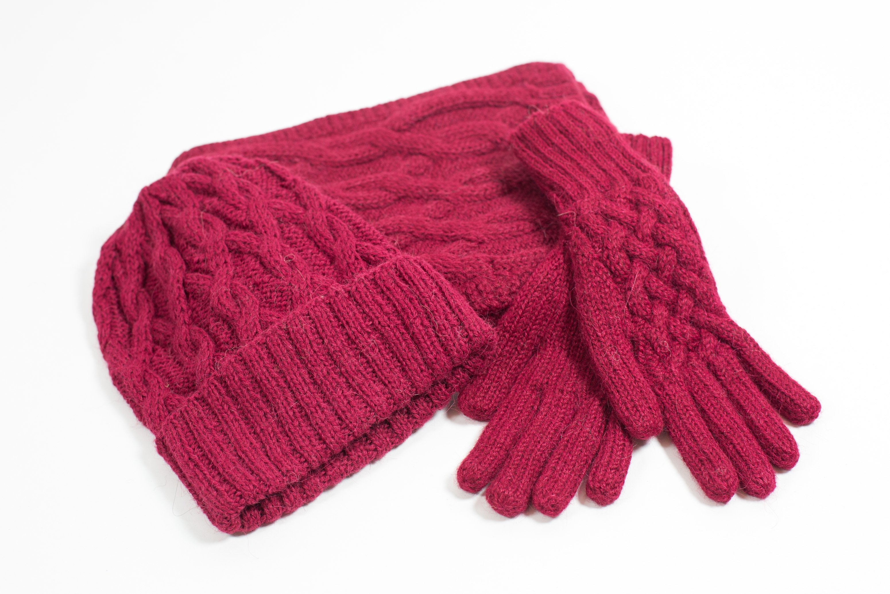 Knitted Sets Including Hat Scarf Fingerless Mittens And Gloves In Alpaca